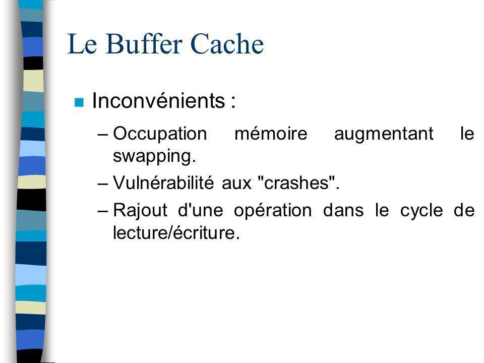 Le Buffer Cache Inconvénients :