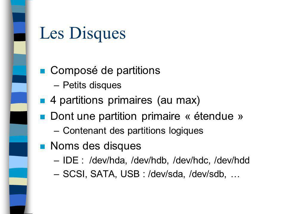 Les Disques Composé de partitions 4 partitions primaires (au max)