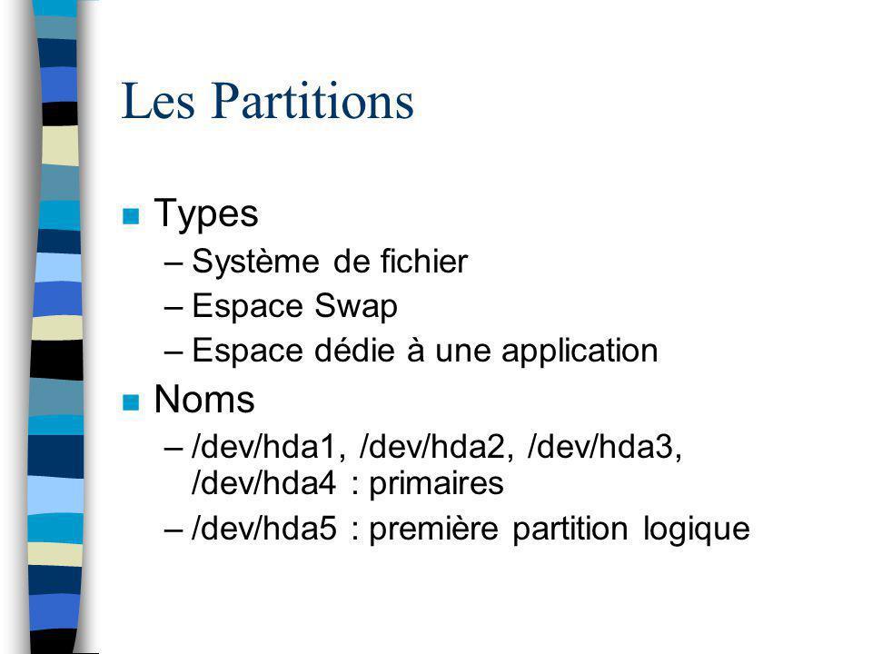 Les Partitions Types Noms Système de fichier Espace Swap