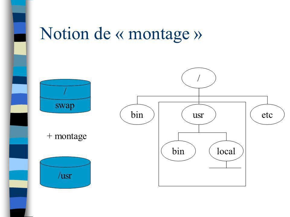 Notion de « montage » / bin usr etc local / swap + montage /usr