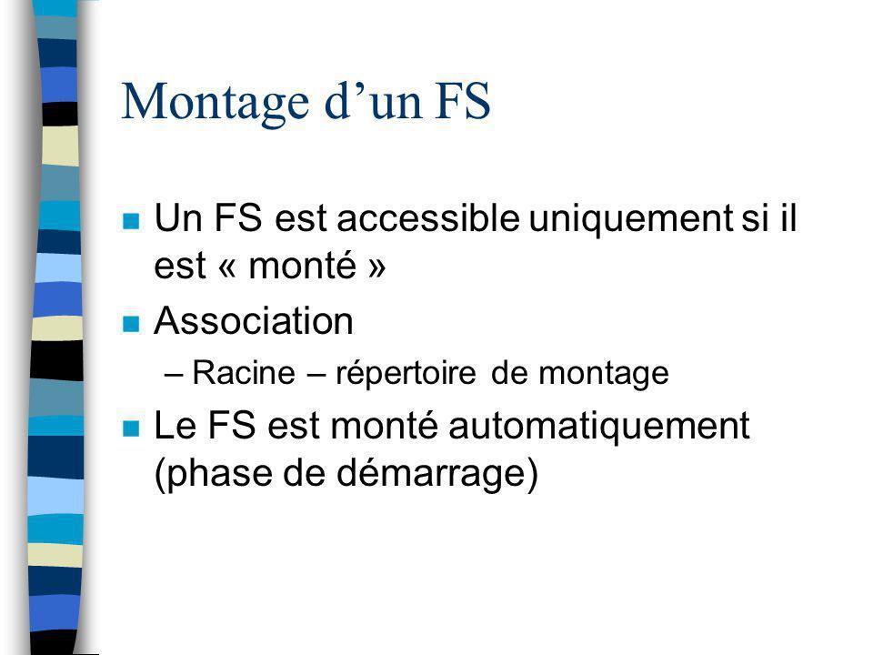 Montage d'un FS Un FS est accessible uniquement si il est « monté »