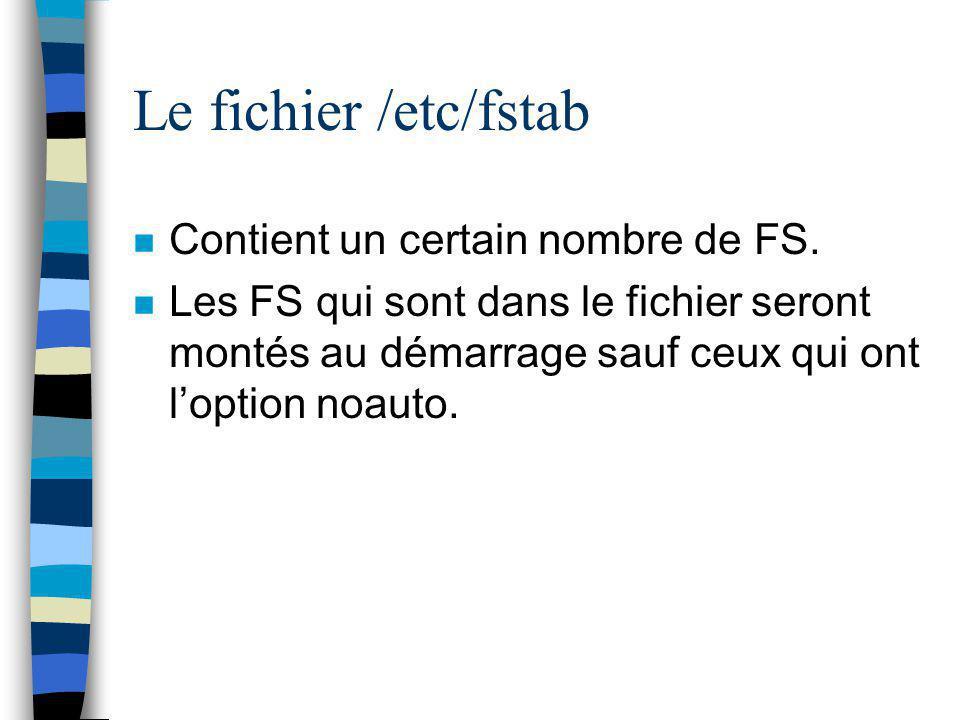 Le fichier /etc/fstab Contient un certain nombre de FS.