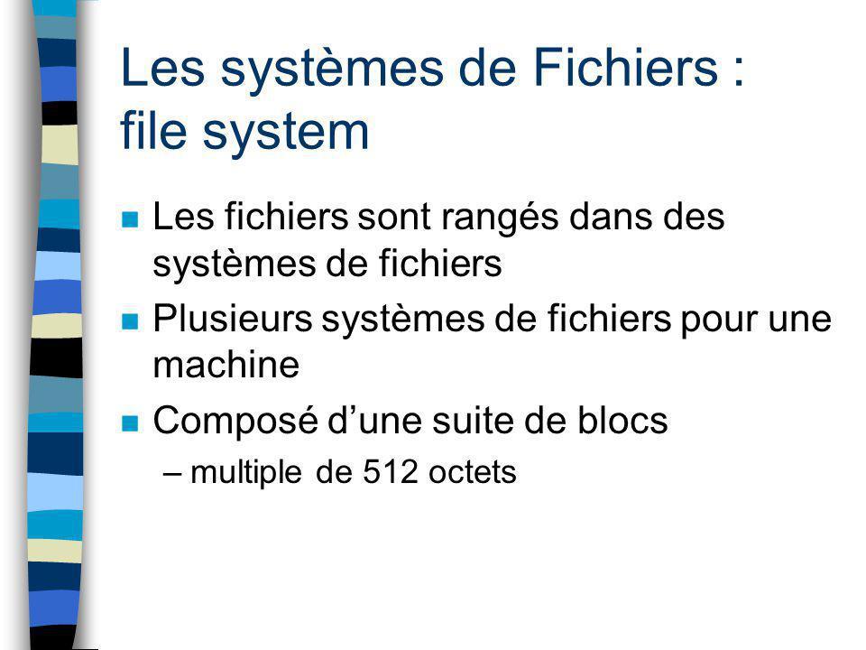 Les systèmes de Fichiers : file system
