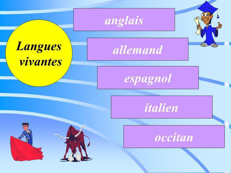 anglais Langues vivantes allemand espagnol italien occitan