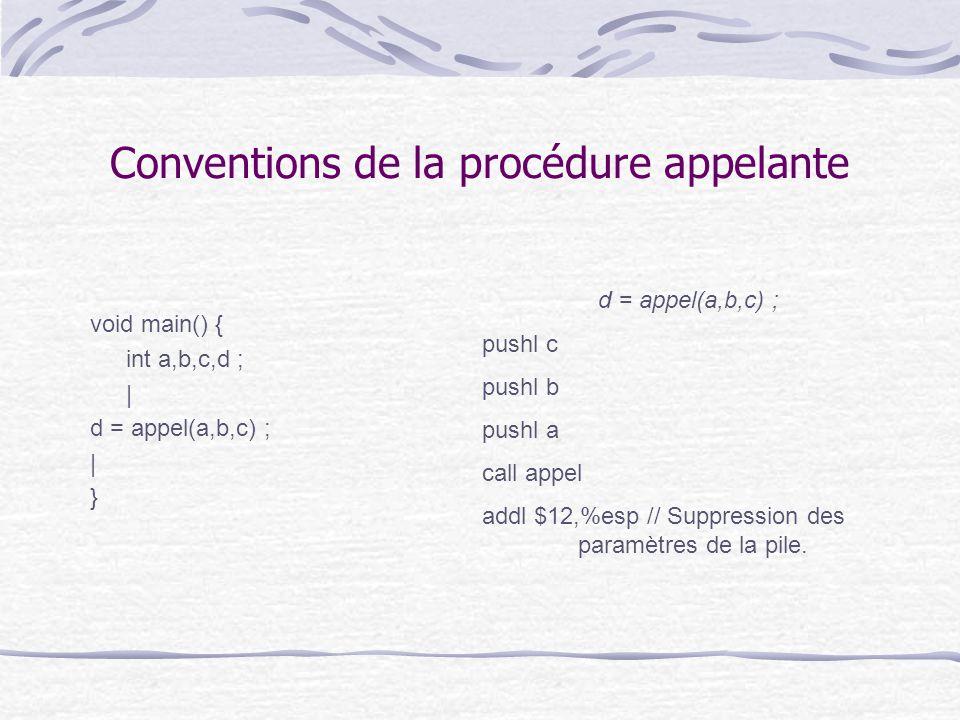 Conventions de la procédure appelante