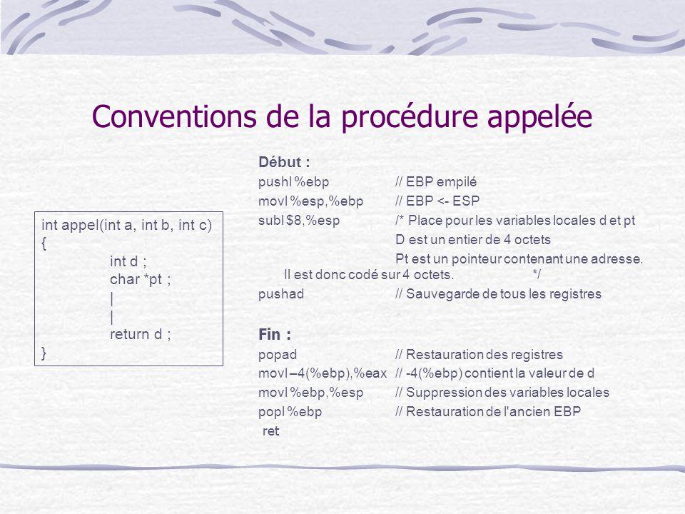 Conventions de la procédure appelée