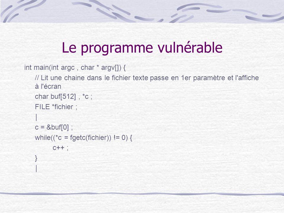Le programme vulnérable