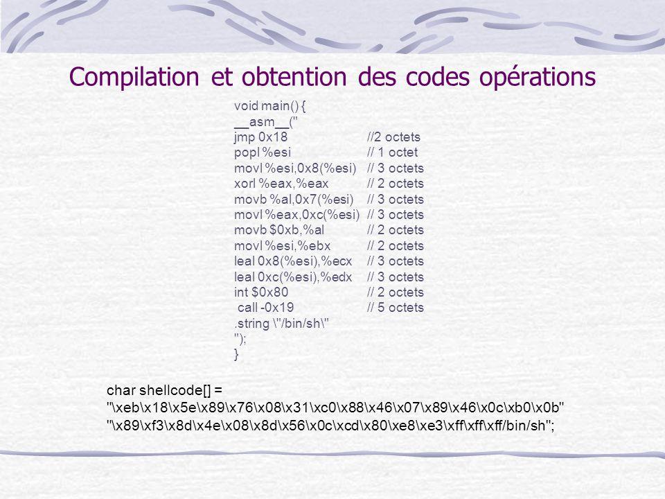 Compilation et obtention des codes opérations