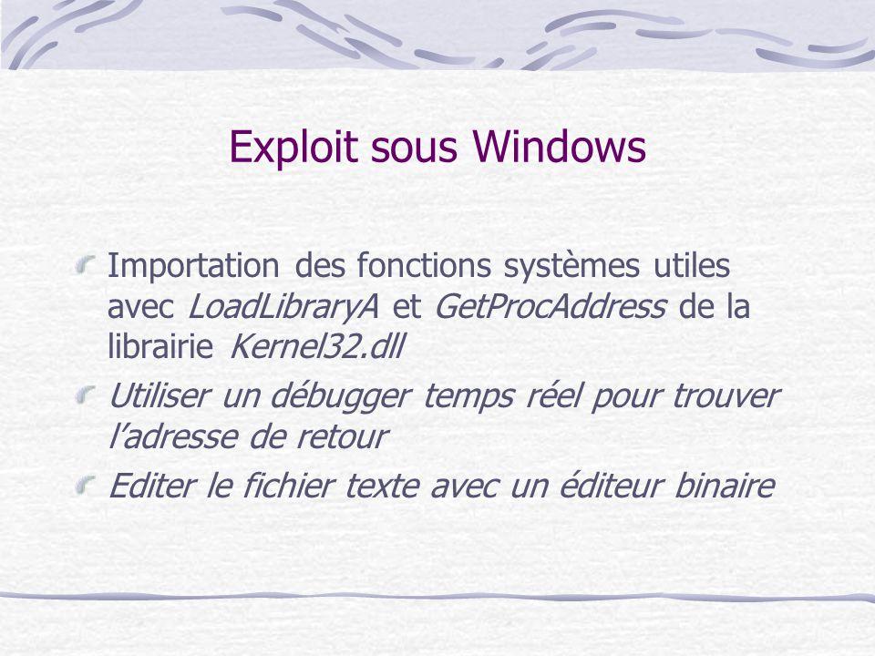 Exploit sous Windows Importation des fonctions systèmes utiles avec LoadLibraryA et GetProcAddress de la librairie Kernel32.dll.