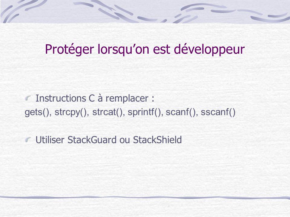 Protéger lorsqu'on est développeur