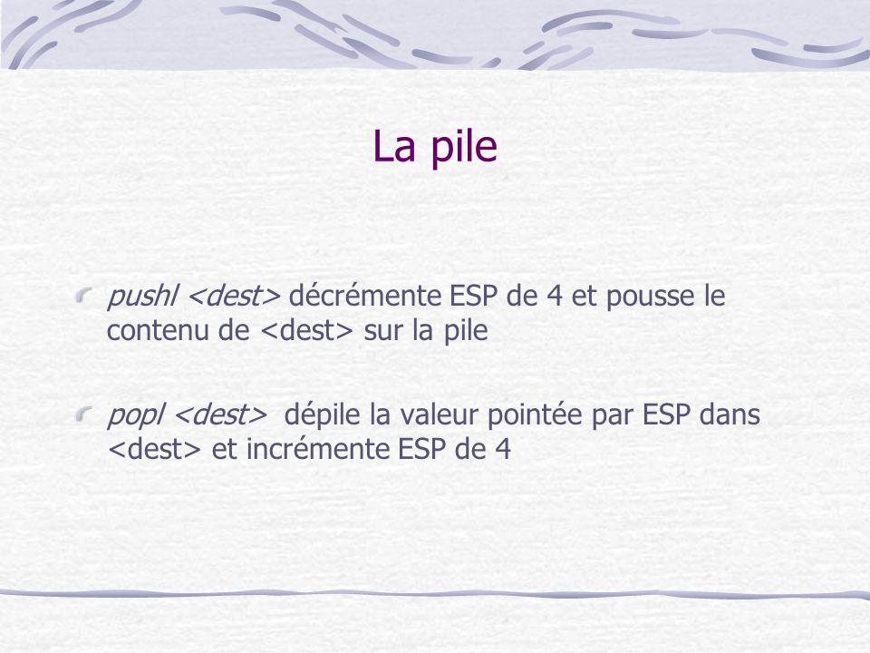 La pile pushl <dest> décrémente ESP de 4 et pousse le contenu de <dest> sur la pile.