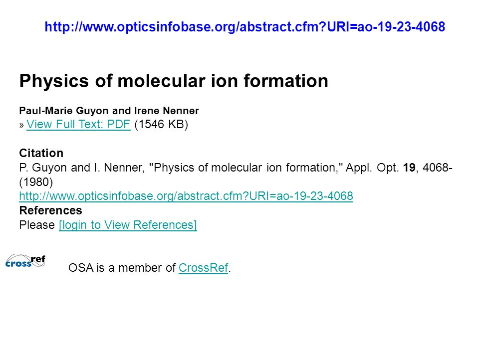 Physics of molecular ion formation
