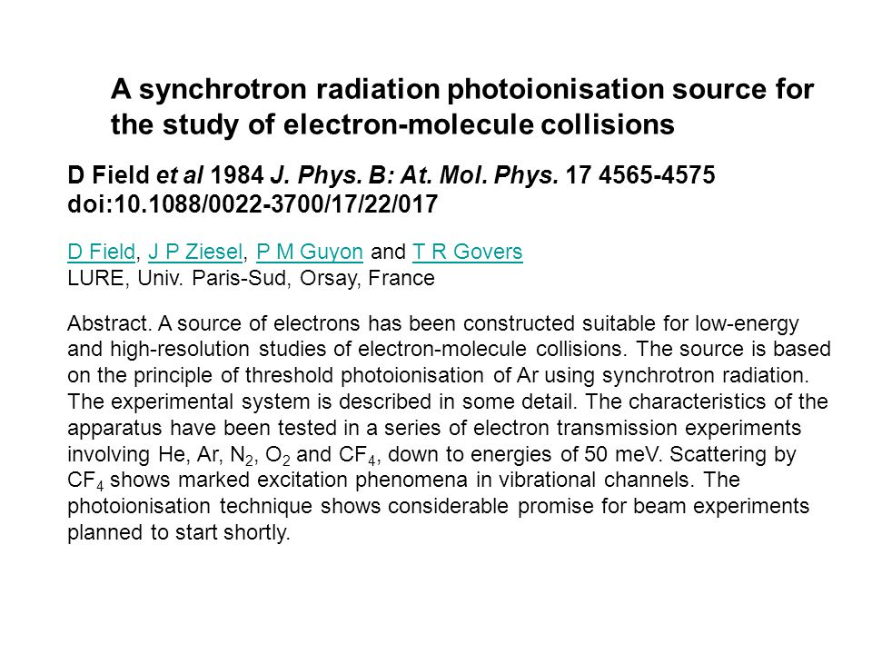 A synchrotron radiation photoionisation source for the study of electron-molecule collisions
