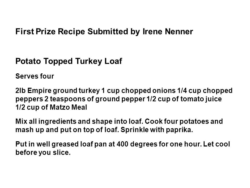 First Prize Recipe Submitted by Irene Nenner
