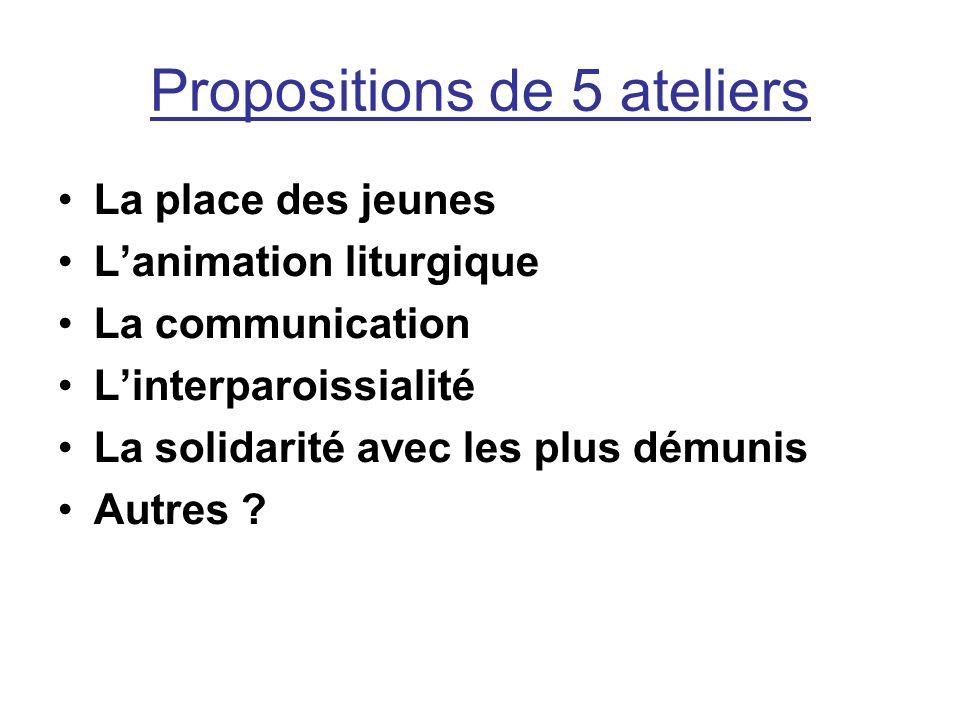 Propositions de 5 ateliers