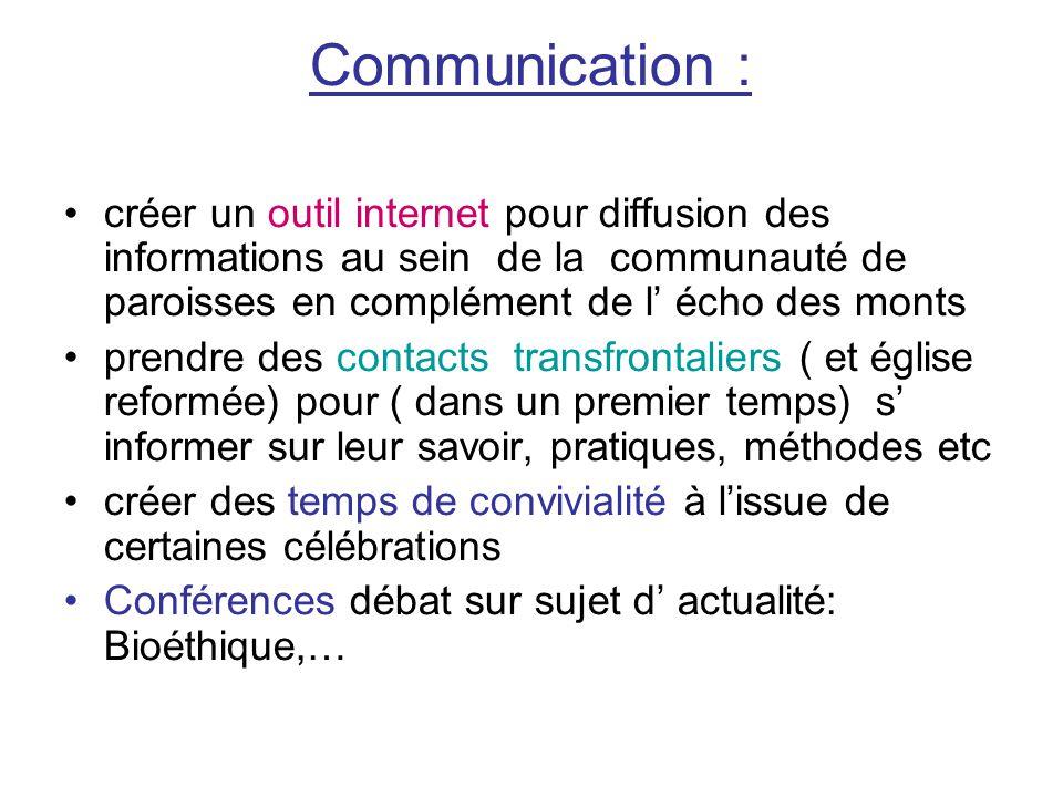 Communication : créer un outil internet pour diffusion des informations au sein de la communauté de paroisses en complément de l' écho des monts.