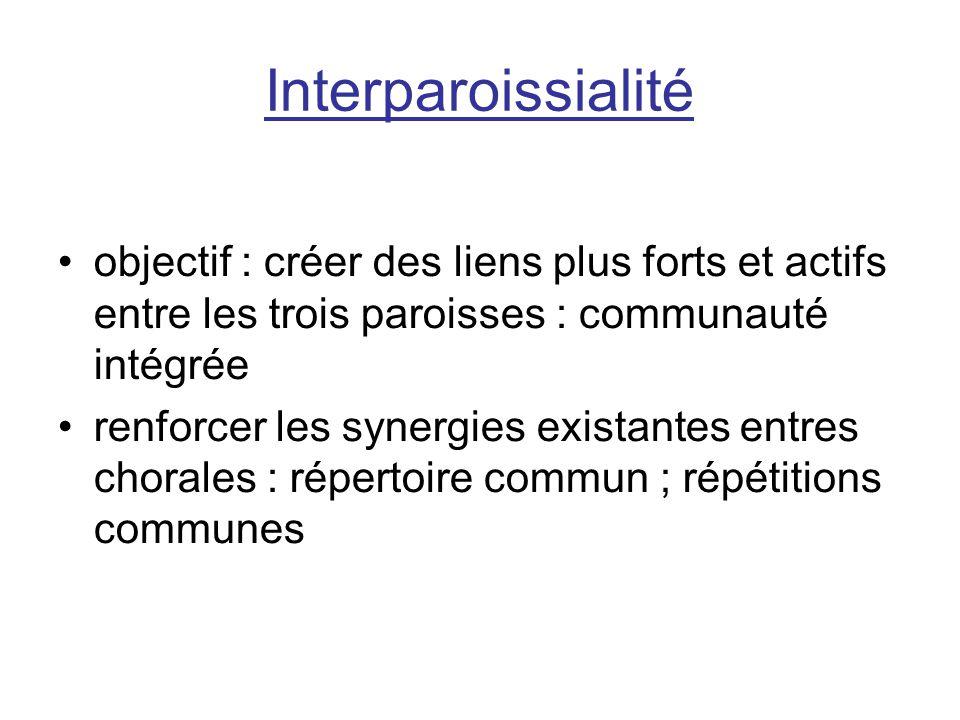 Interparoissialité objectif : créer des liens plus forts et actifs entre les trois paroisses : communauté intégrée.