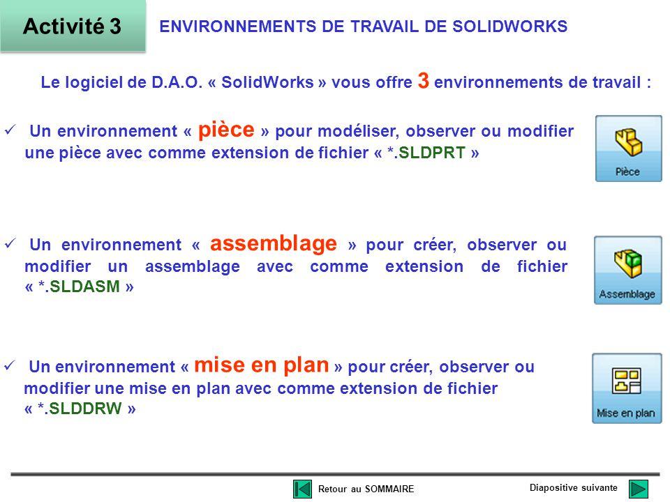 Activité 3 ENVIRONNEMENTS DE TRAVAIL DE SOLIDWORKS