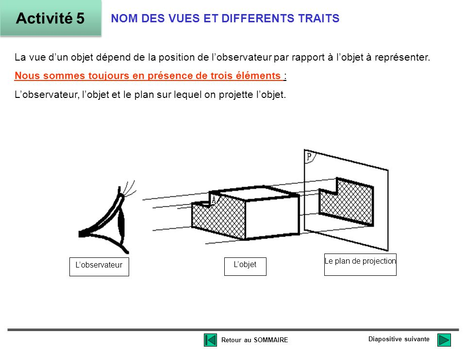 Activité 5 NOM DES VUES ET DIFFERENTS TRAITS