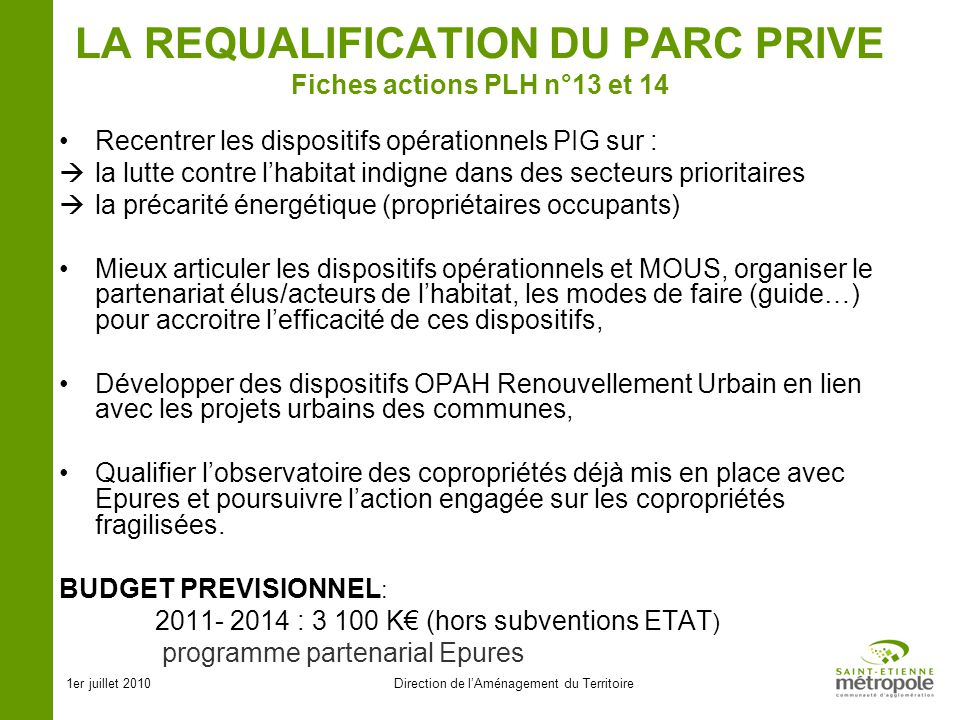 LA REQUALIFICATION DU PARC PRIVE Fiches actions PLH n°13 et 14