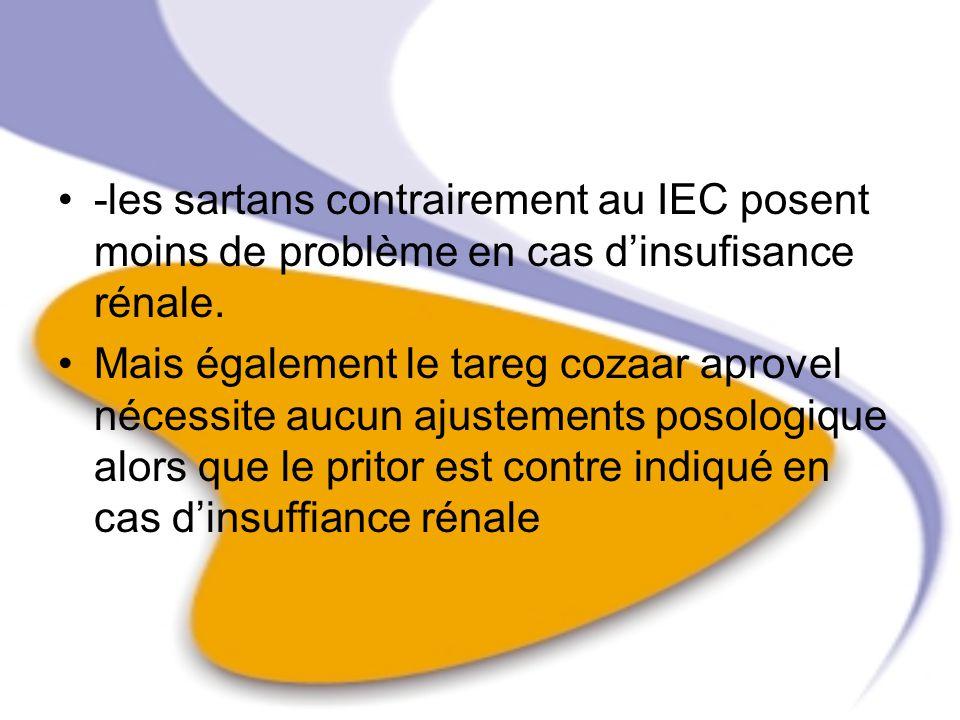 -les sartans contrairement au IEC posent moins de problème en cas d'insufisance rénale.