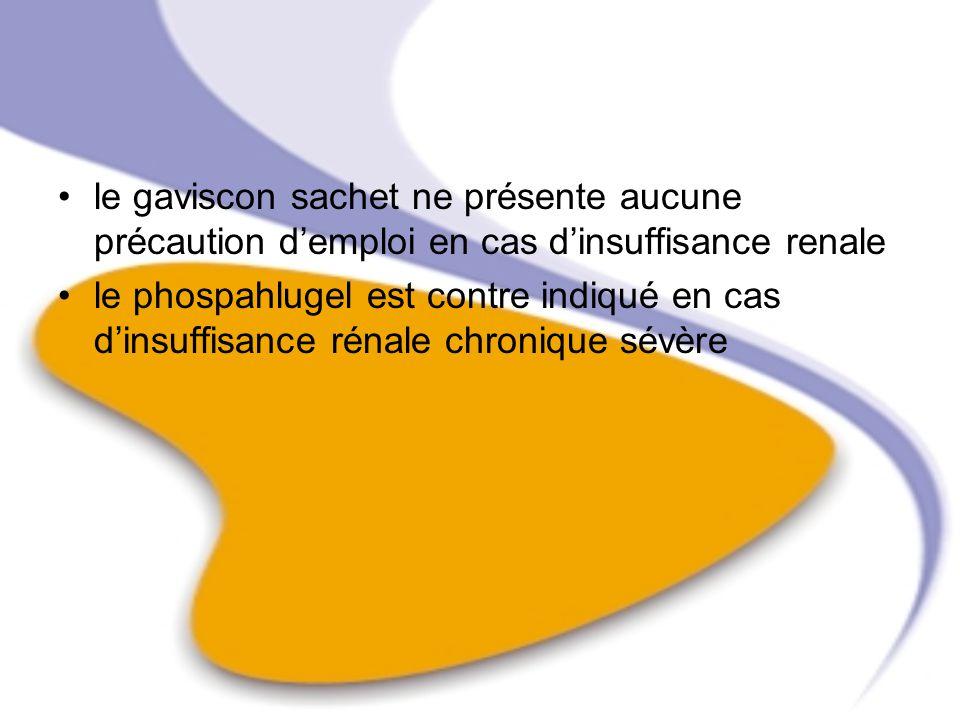 le gaviscon sachet ne présente aucune précaution d'emploi en cas d'insuffisance renale