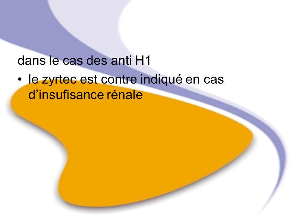 dans le cas des anti H1 le zyrtec est contre indiqué en cas d'insufisance rénale
