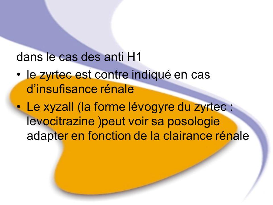 dans le cas des anti H1 le zyrtec est contre indiqué en cas d'insufisance rénale.