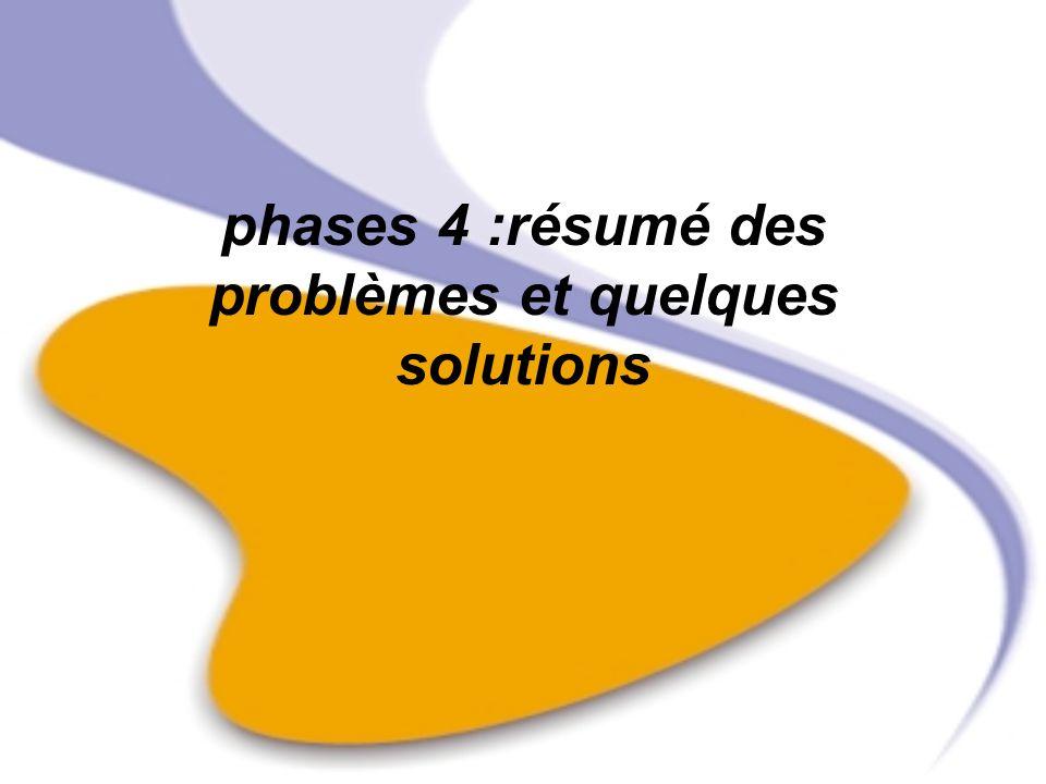 phases 4 :résumé des problèmes et quelques solutions