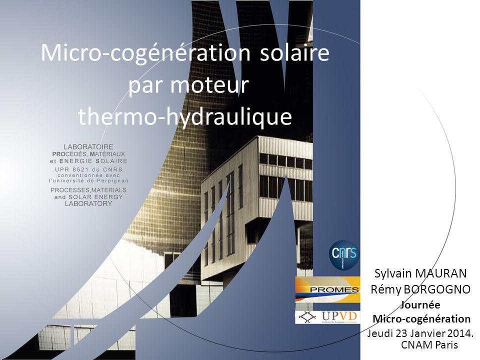 Micro-cogénération solaire par moteur thermo-hydraulique