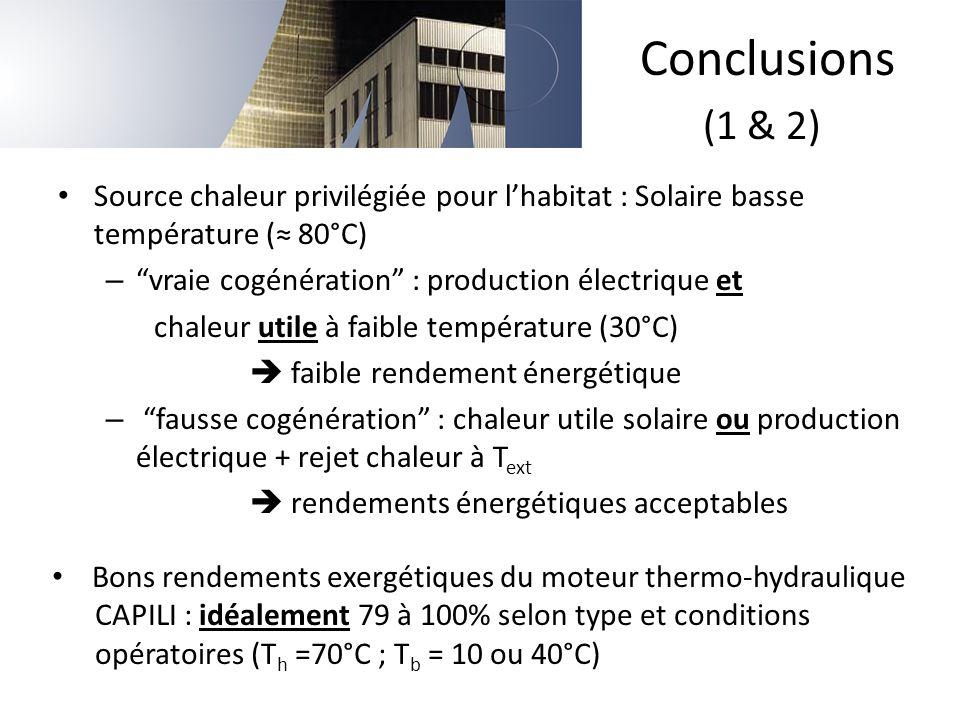 Conclusions (1 & 2) Source chaleur privilégiée pour l'habitat : Solaire basse température (≈ 80°C)
