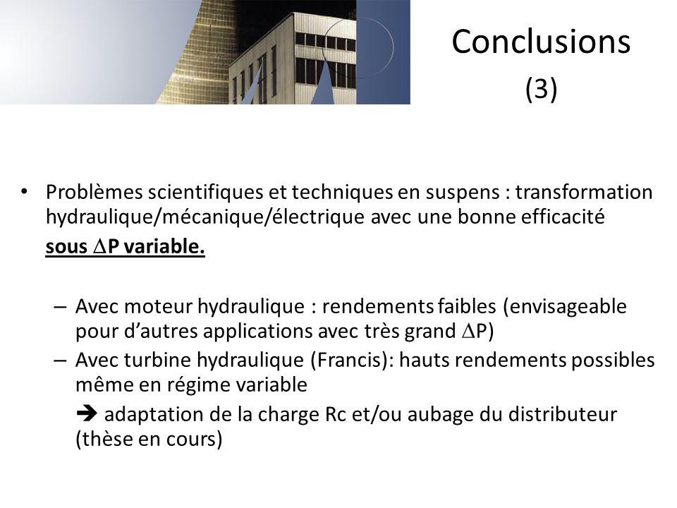 Conclusions (3) Problèmes scientifiques et techniques en suspens : transformation hydraulique/mécanique/électrique avec une bonne efficacité.