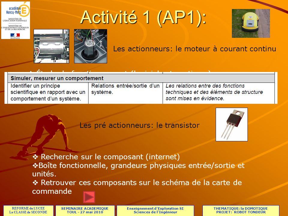 Activité 1 (AP1): Les actionneurs: le moteur à courant continu