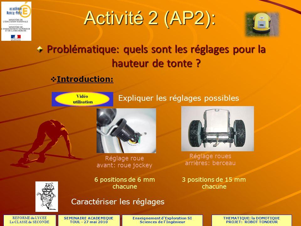Activité 2 (AP2): Problématique: quels sont les réglages pour la hauteur de tonte Introduction: Expliquer les réglages possibles.