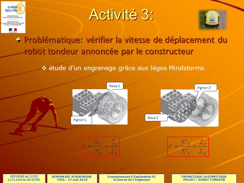 étude d'un engrenage grâce aux légos Mindstorms