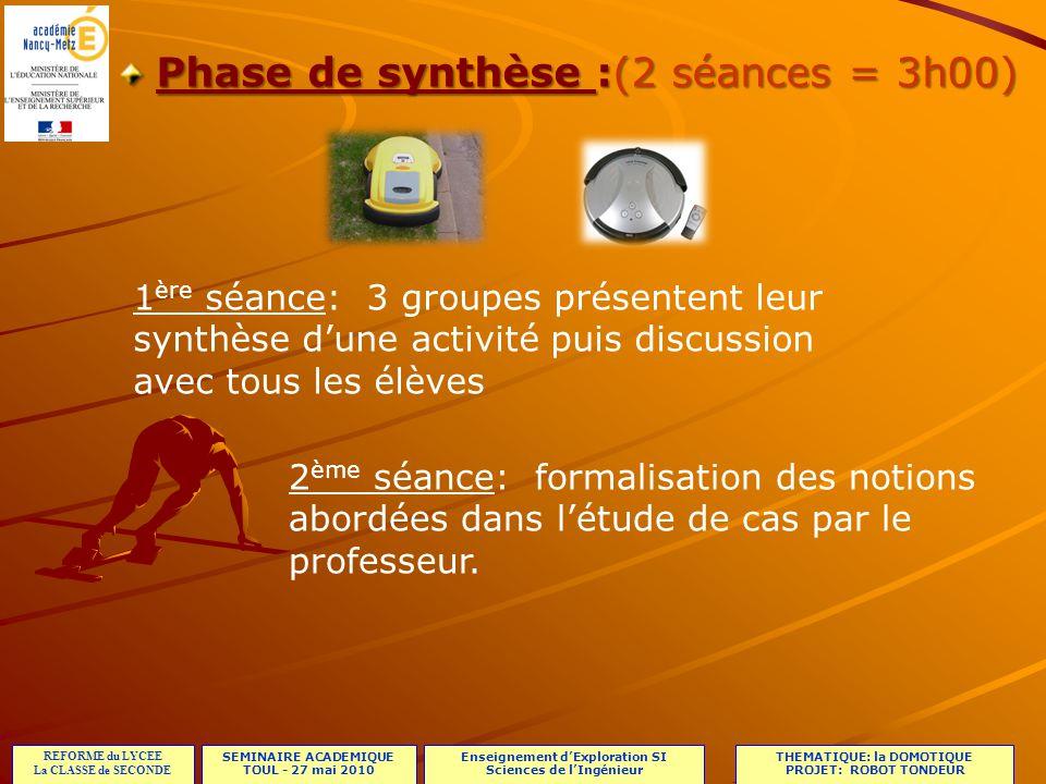 Phase de synthèse :(2 séances = 3h00)