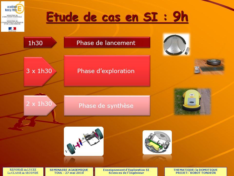 Etude de cas en SI : 9h 1h30 Phase de lancement 3 x 1h30