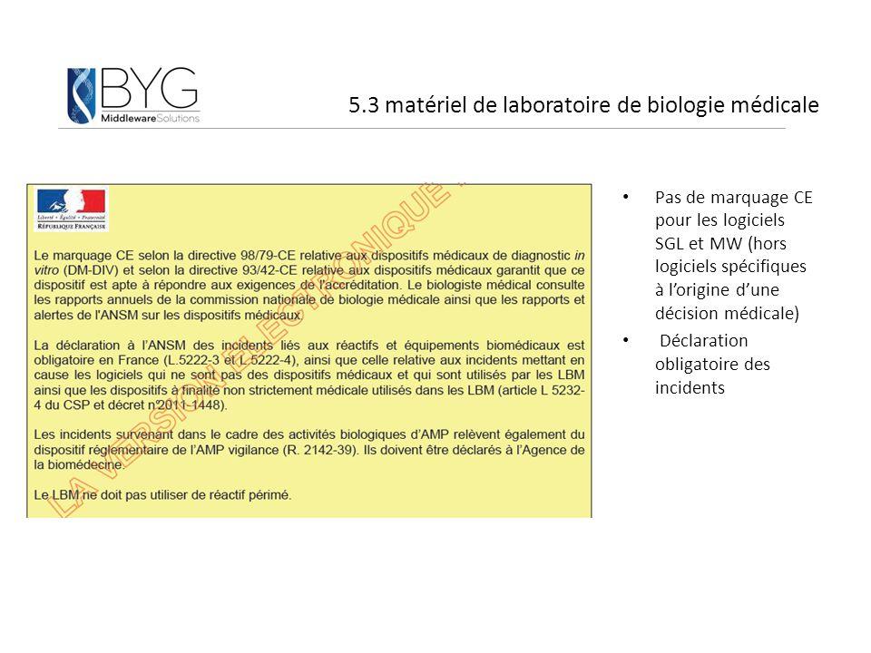 5.3 matériel de laboratoire de biologie médicale