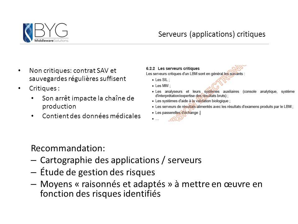 Serveurs (applications) critiques