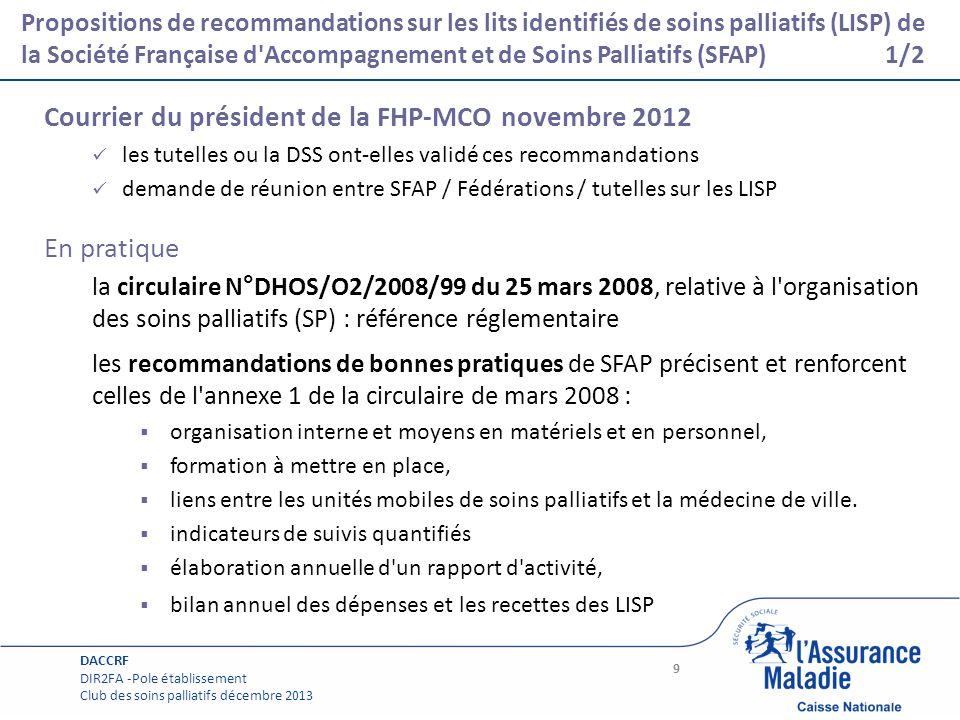 Courrier du président de la FHP-MCO novembre 2012