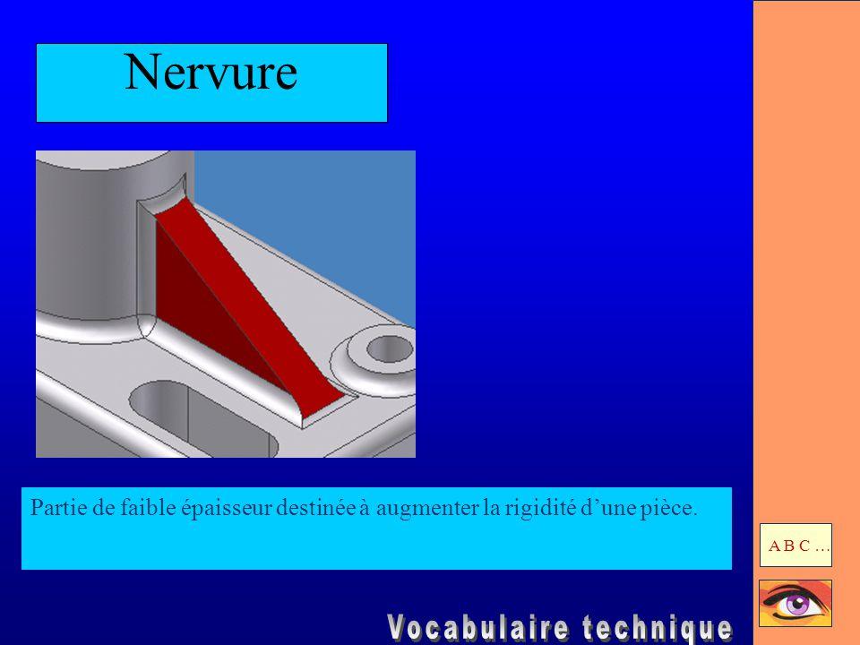 Nervure Partie de faible épaisseur destinée à augmenter la rigidité d'une pièce. A B C …