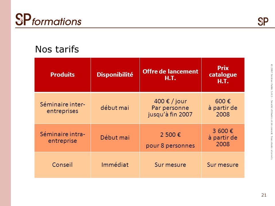 Nos tarifs Produits Disponibilité Offre de lancement H.T.