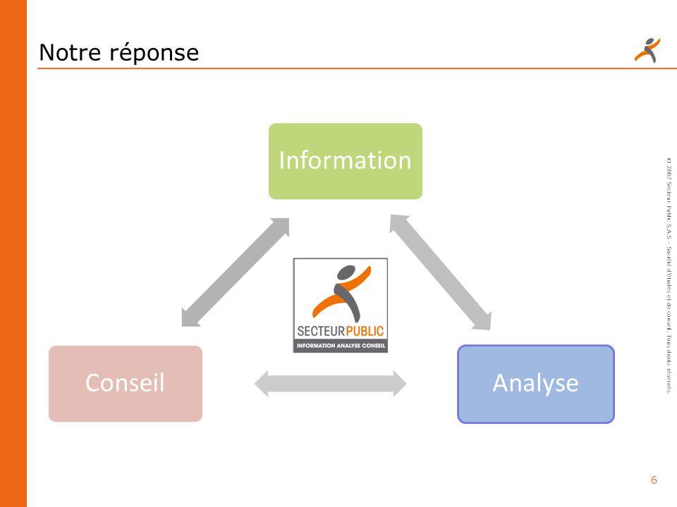 Notre réponse Information. Analyse. Conseil. © 2007 Secteur Public S.A.S - Société d'études et de conseil. Tous droits réservés.