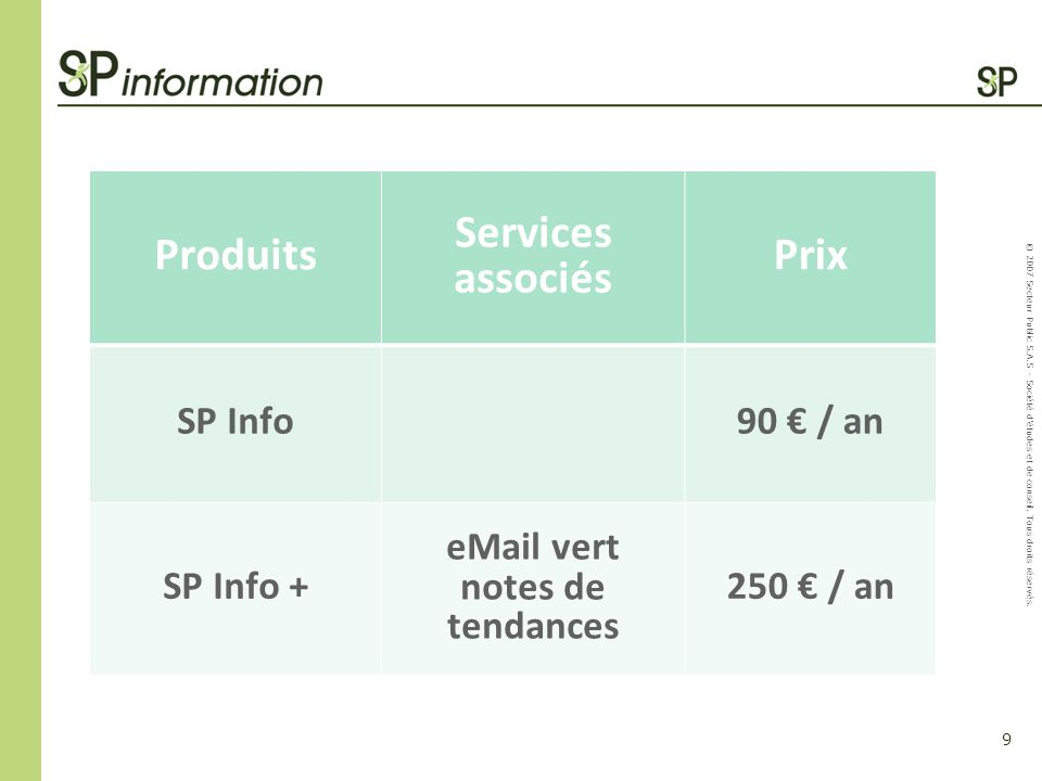 Produits Services associés Prix