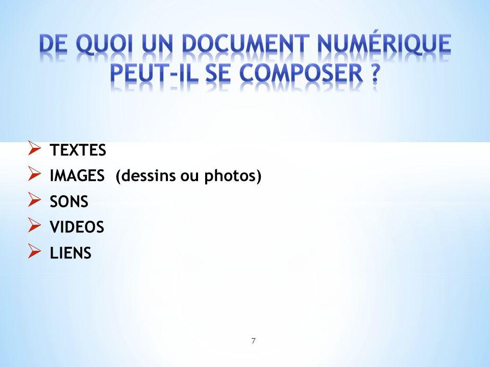 IMAGES (dessins ou photos) SONS VIDEOS LIENS