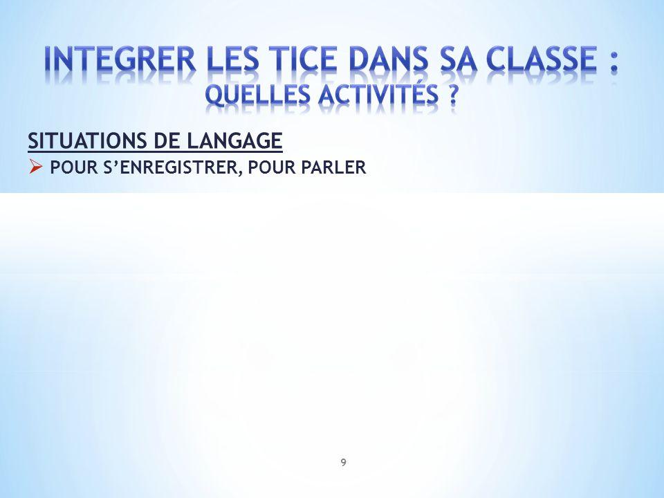 SITUATIONS DE LANGAGE POUR S'ENREGISTRER, POUR PARLER