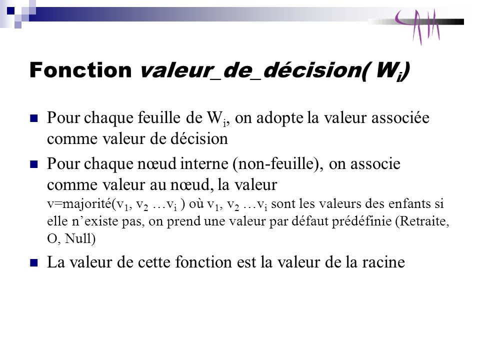 Fonction valeur_de_décision( Wi)