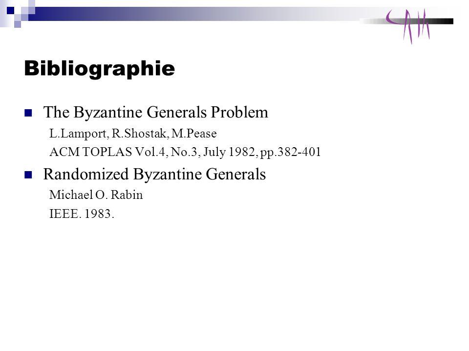 Bibliographie The Byzantine Generals Problem