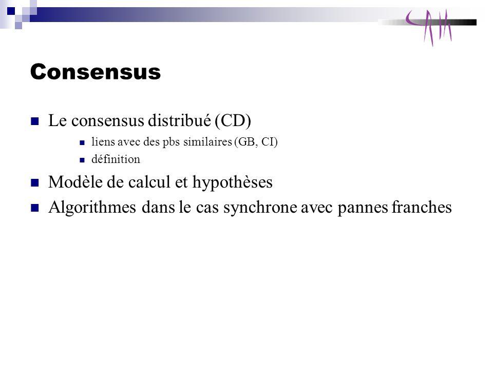 Consensus Le consensus distribué (CD) Modèle de calcul et hypothèses