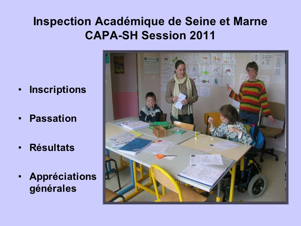 Inspection Académique de Seine et Marne CAPA-SH Session 2011